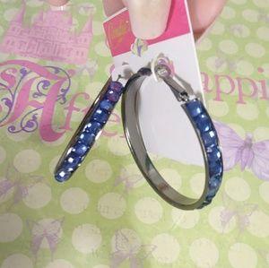 Candie's blue rhinestone black silver hoop earring